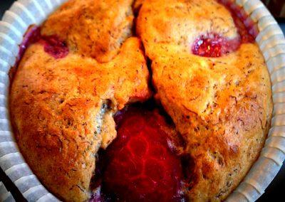 Hindbær-banan muffins