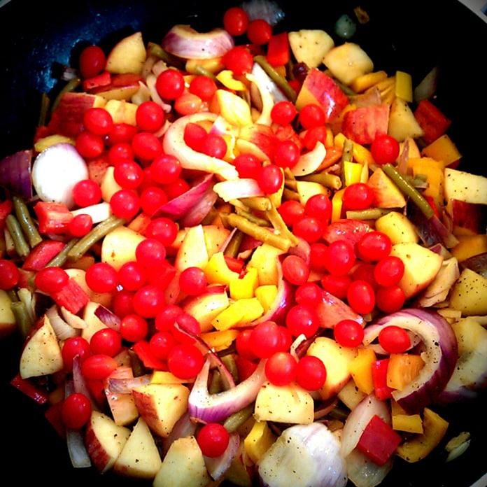 Æbler, løg, peberfrugt