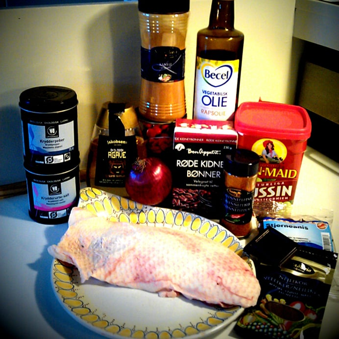 Jule-con carne med andebryst - ingredienserne
