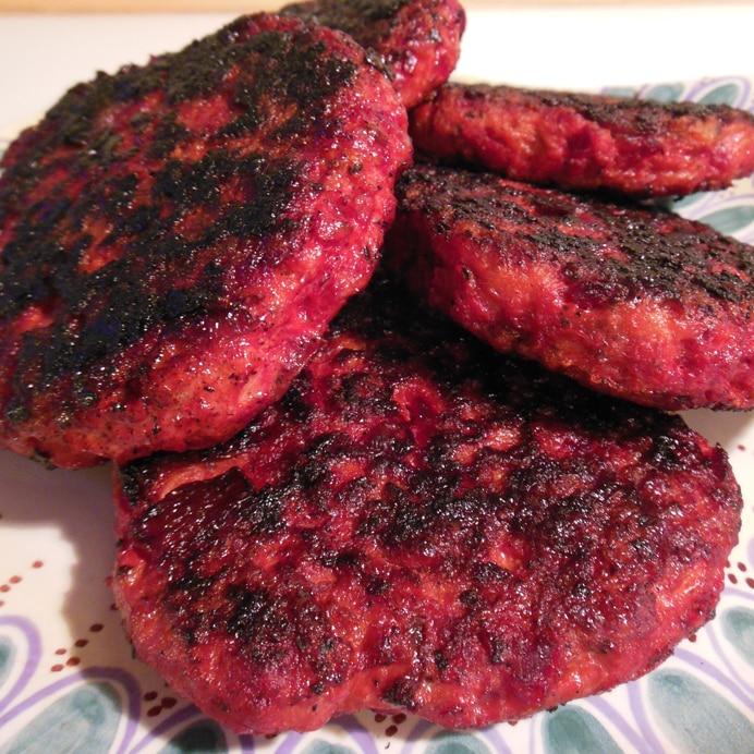 Rødbedebøffer med hakket kylling
