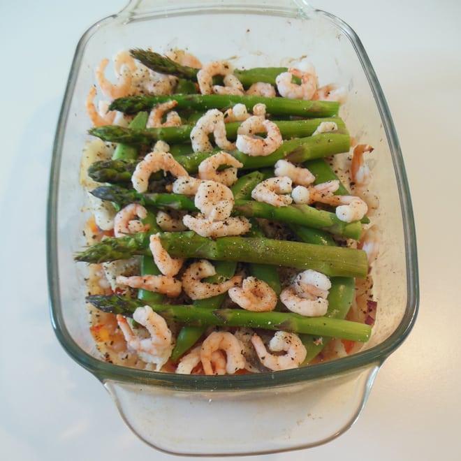Torsk på perlebyg og grøntsager