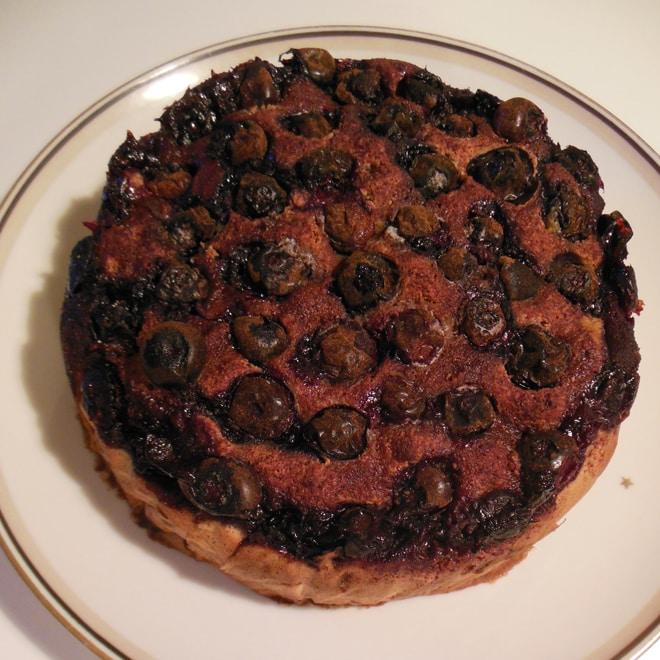 Æble-blåbærkage med Stevia, efter bagning